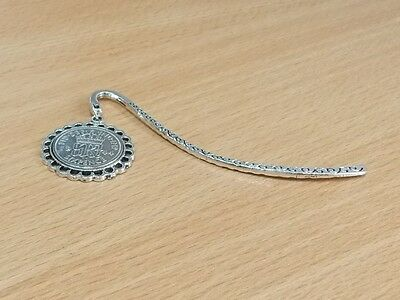 1937 80th Birthday Anniversary Sixpence Coin Bookmark with Shiny Sixpence Fine