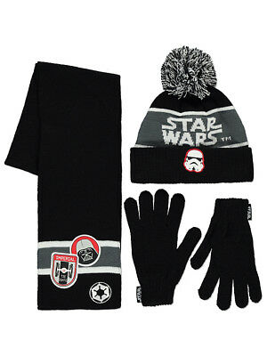 George Boys Kids Official Star Wars Bobble Hat Scarf Gloves Set