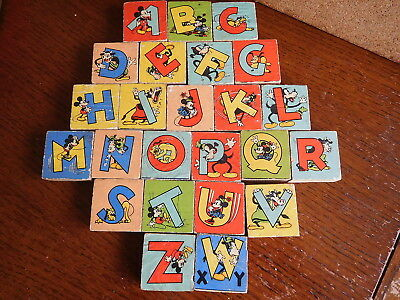 Found* Antique Post1930S Disney Picture /alphabet Block .micky ,horace, Pluto