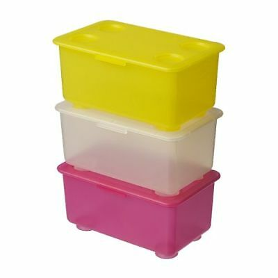 IKEA GLIS Box With Lid Pink/White Yellow Free Shipping
