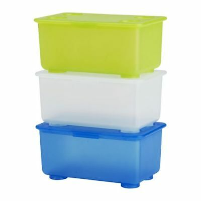 IKEA GLIS Box With Lid White/Light Green Blue 3 Pack Free Shipping