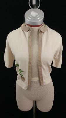 vintage Dupont Orlon cardigan S small cream embroidered floral sweater 1960s