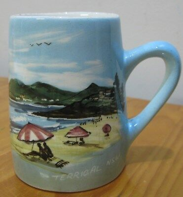 Vintage Hand Painted Studio Anna Souvenir Pottery Mug TERRIGAL NSW