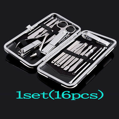 16 Pcs/Set Pedicure Manicure Nail Care Clipper Cleaner Cuticle Grooming Kit Case
