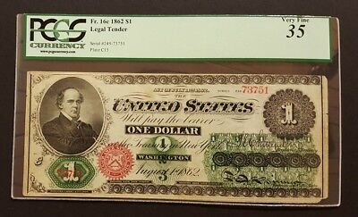 1862 $1 Legal Tender Note, PCGS 35 Very Fine with Comments
