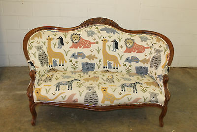 Antique Embroidered Animal Pattern Settee / Love Seat -For Local Pickup Only