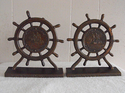 Old Ironsides USS Constitution copper bookends-1 spoke handle missing-2 repaired