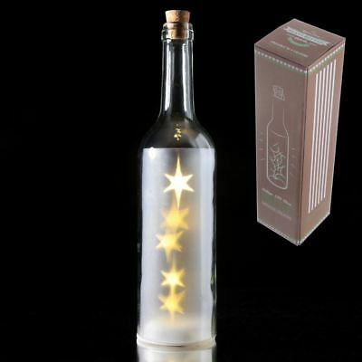 Coloured Decorative Bottle with LED Lights Wine Glass Bottle Gift - White STAR