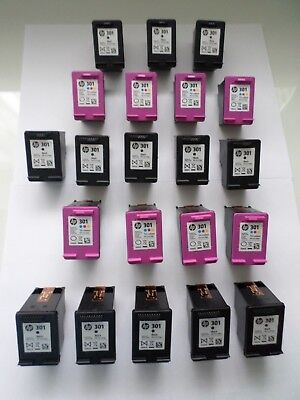 21 x GENUINE HP301 EMPTY INK CARTRIDGES 13 x BLACK & 8 x COLOUR - Never Refilled