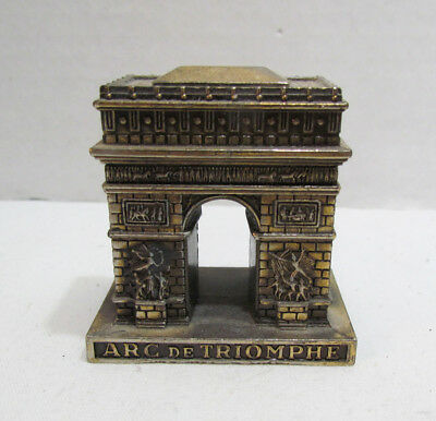 Arc De Triomphe Paris France Vintage Souvenir Metal Building Paperweight Polyne