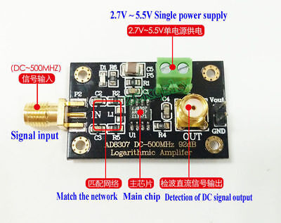 AD8307 RF Power Detector Module Logarithmic Amplifier DC-500MHz 92db Transmitter