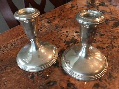Pair of Vintage Empire Sterling Silver Weighted Candle Stick Holders
