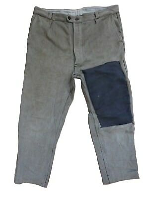 VTG 40s FRENCH WORKWEAR CHORD TROUSERS SALT N PEPPER CHORE DARNED PATCHWORK HOBO