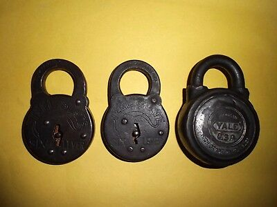 VINTAGE LOCKS LOT 2 STEEL STATE SIX LEVER & 1 YALE PIN TUMBLER PADLOCK No Keys!