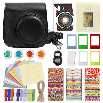 Deluxe Stylish Fun Accessory Kit for Fujifilm Instax Mini 8 Camera Black