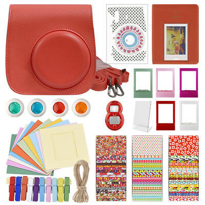 Deluxe Stylish Fun Accessory Kit for Fujifilm Instax Mini 8 Camera Raspberry