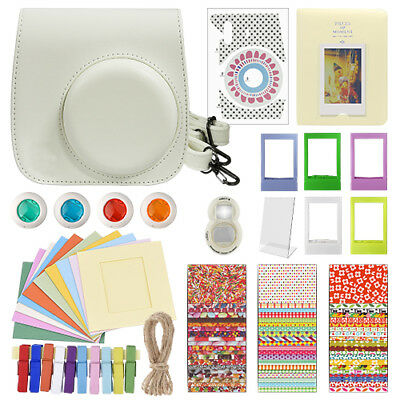 Deluxe Stylish Fun Accessory Kit for Fujifilm Instax Mini 8 Camera White