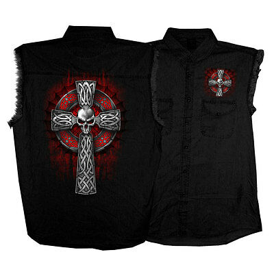 USA Lightweight Celtic Cross Biker Denim Motorcycle Cut Off Shirt / Waistcoat