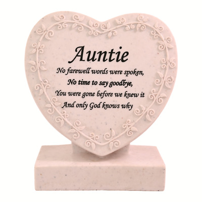 Auntie Heart Shaped Memorial Grave Plaque Cremation Marker