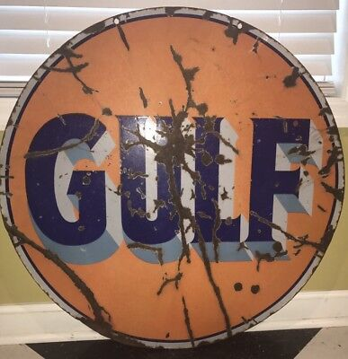 "Original 1940s Gulf Gas Oil Porcelain 30"" Sign DSP ~ Antique Advertising"