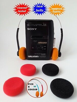 Sony Walkman radio cassette player NEW BELTS CLEANED WORKING & TESTED!