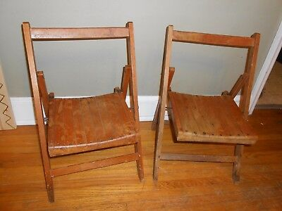 Vintage Childrens Wood Folding Chair Set (2)