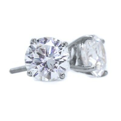2 Ct Round Cut Stud Diamond Earrings in Solid 14k White Gold Screw Back Studs