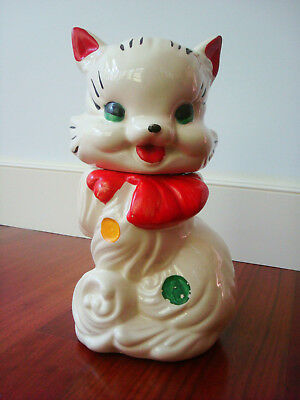 """Vintage American Bisque Ivory Fluffy the Cat Cookie Jar 12"""" T Polka Dot red bow"""