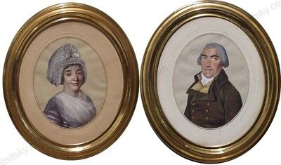 """Portraits of Husband and Wife"", Swiss School, two gouaches, late 18th Century"