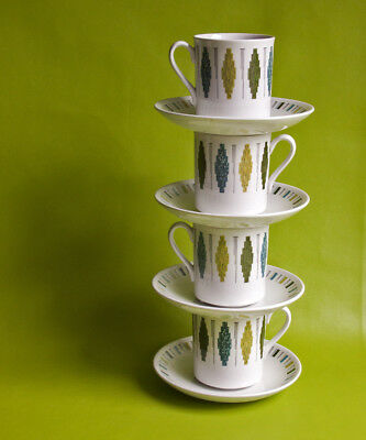 Vintage Retro 1960s Myott DELTA Pattern Set of 4 Tea Cups & Saucers FREE UK P&P