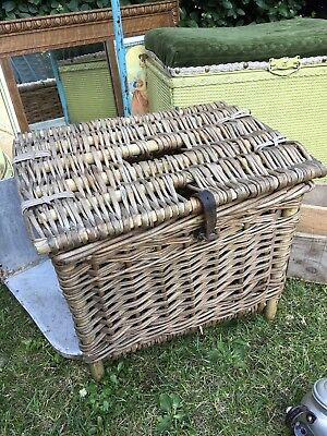 Rustic Vintage Wicker Fishing Basket Creel Tackle Storage Log Box