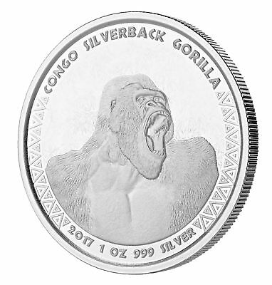 2017 $1 1oz Silver Congo Silverback Gorilla .999 BU (Proof-Like)