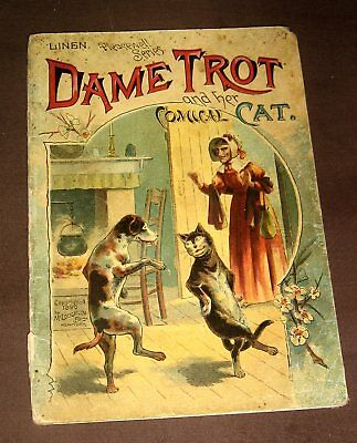 1890 antique DAME TROT and her COMICAL CAT victorian children book VG CONDITION