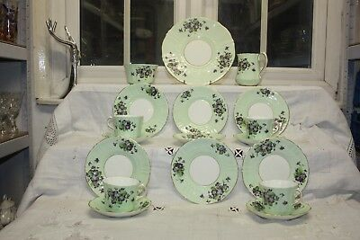 Gorgeous Old Royal tea Set Pale Green With Violets 1930's 18 Piece Sampson Smith