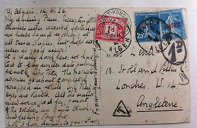 Rare 1926 Algeria Date Picking Postcard Postage Due Stamps & Postmarks