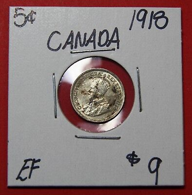 1918 Canada Silver Five 5 Cent Coin 5977 - $9 EF