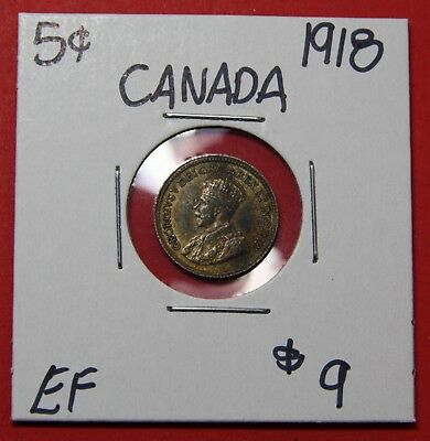 1918 Canada Silver Five 5 Cent Coin 5980 - $9 EF