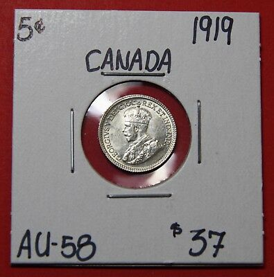 1919 Canada Silver Five 5 Cent Coin 6015 - $37 AU - 58