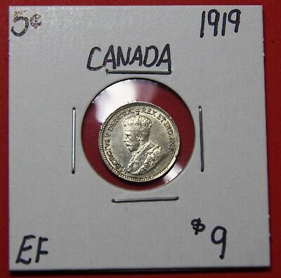 1919 Canada Silver Five 5 Cent Coin 6007 - $9 EF