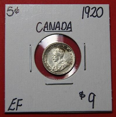 1920 Canada Silver Five 5 Cent Coin 6020 - $9 EF
