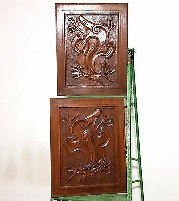 CARVED WOOD PANEL MATCHED PAIR ANTIQUE FRENCH COAT OF ARMS WALNUT CARVING 19th