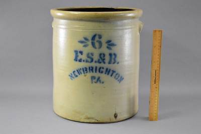 Rare 6 Gal Stenciled E.S. & B. New Brighton, Pa. Crock Circa 1870 - 1880 No Res