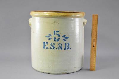 Rare 5 Gal Stenciled E.S. & B. New Brighton, Pa. Crock Circa 1870 - 1880 No Res