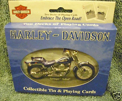 HARLEY DAVIDSON COLLECTOR TIN & PLAYING CARDS-Springer Softail - 2001