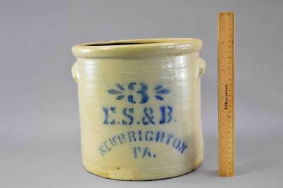 Rare 3 Gal Stenciled E.S. & B. New Brighton, Pa. Crock Circa 1870 - 1880 No Res
