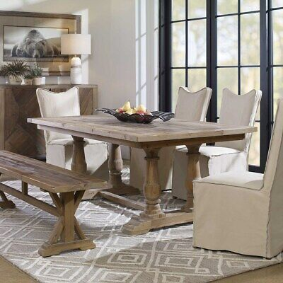 French Country Tuscan Stratford Salvaged Solid Wood Dining Table Farmhouse Chic
