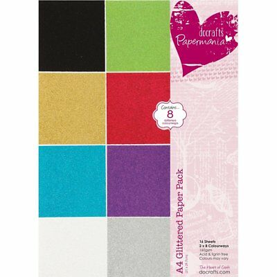 Papermania A4 Glittered Paper, Pack of 16