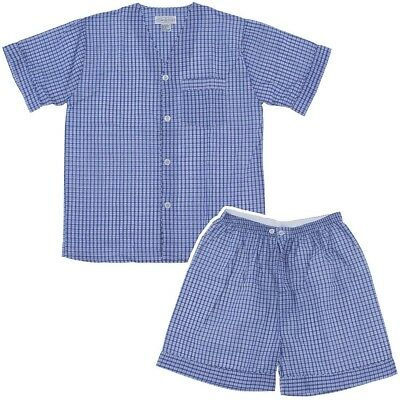 Blue and Navy Plaid Short Pajamas for Men Size Large
