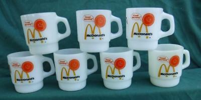 McDONALD'S GOOD MORNING FIRE-KING STACKABLE COFFEE MUGS MILK GLAS CUPS LOT 7pc