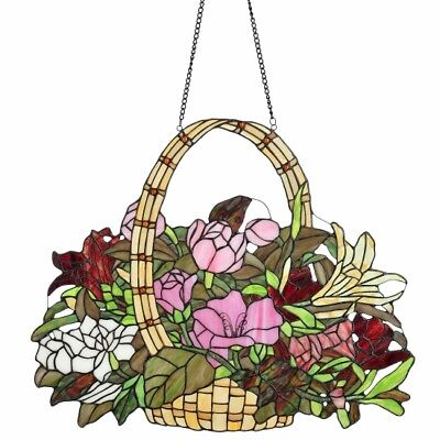 "Tiffany-Style 19.5"" Basket of Spring Stained Glass Window Panel"